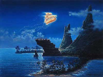 peter pan neverland pictures | Rodel Gonzalez - Peter Pan - Sailing Over Neverland - Original