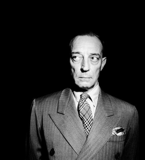#Robert Doisneau|The American actor Buster Keaton, 1945.