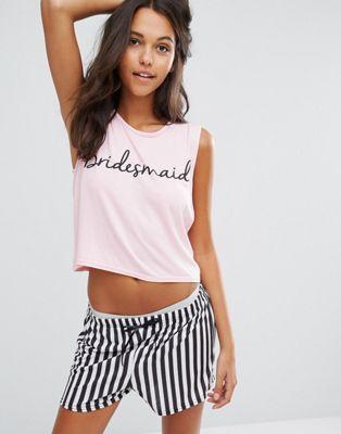Boohoo Bridesmaid Pajama Shorts Set