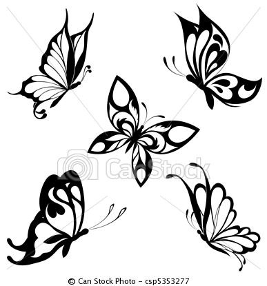 Vector - Set black white butterflies of a ta - stock illustration, royalty free illustrations, stock clip art icon, stock clipart icons, logo, line art, EPS picture, pictures, graphic, graphics, drawing, drawings, vector image, artwork, EPS vector art