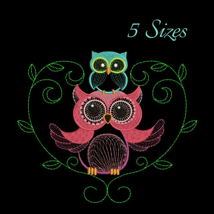 Owl heart machine embroidery design baby designs bird instant digital designs download pattern girl designs kids hoop file towel animal by SvgEmbroideryDesign on Etsy