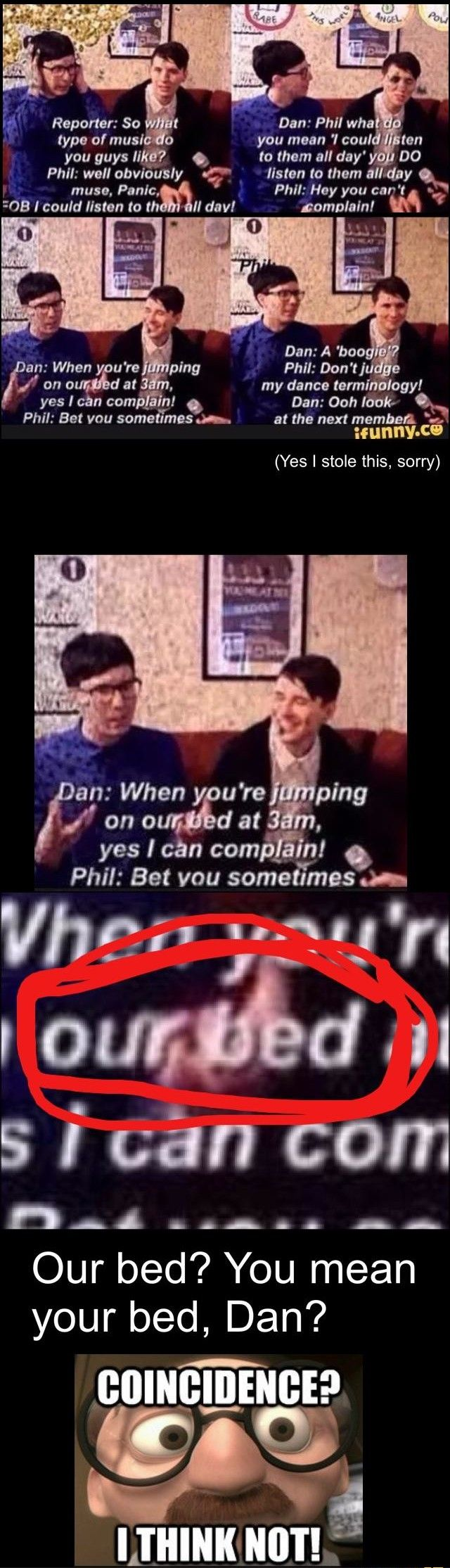 """""""our bed"""" OMFG PHAN FANS ARE GOING TO FLIP OUT - Dan and phil"""