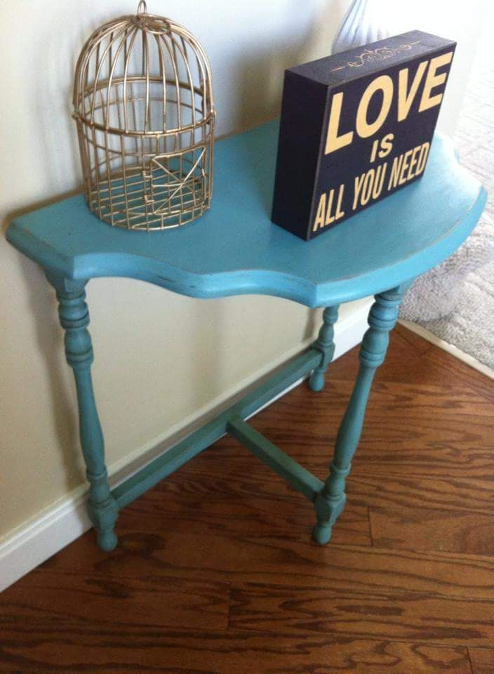 Antique half moon table, painted in AS Provence, and clear & dark waxed.   ~The Decor Vault~ www.facebook.com/thedecorvault