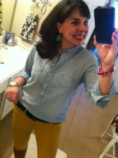 Pinterest Told Me To:  mustard and denim!