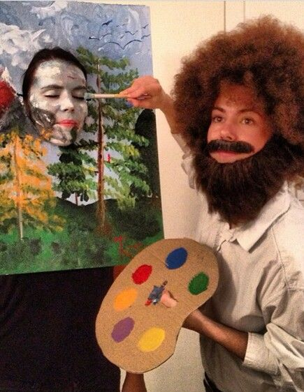 Bob ross couples costume. One of the funniest costumes I've ever seenXD