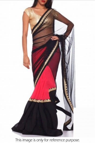 Bollywood Style Model Georgette and Net Saree In Black and Pink Colour NC1484