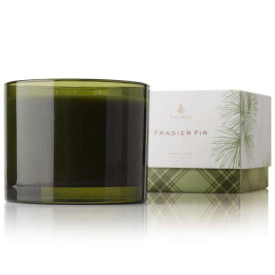 Thymes Frasier Fir Three-Wick Candle in the beautiful new green glass container
