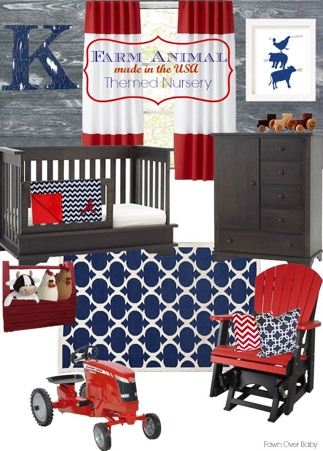 """Farm Animal"" - made in the USA Themed Nursery #munire #pinparty #MadeintheUSA"