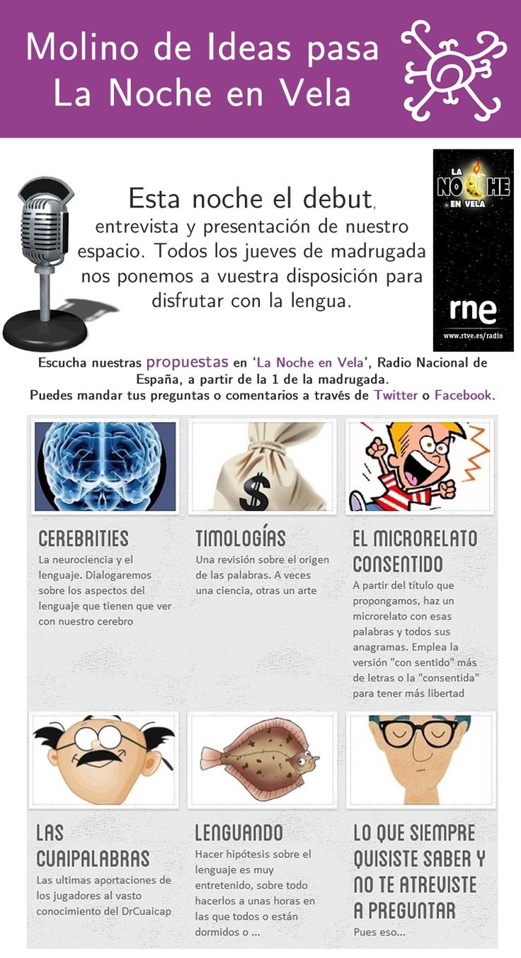 Molino de Ideas pasa 'La Noche en Vela', junto a Pilar Tabares y los amigos de Radio Nacional de España, a partir de la 1 de la madrugada.