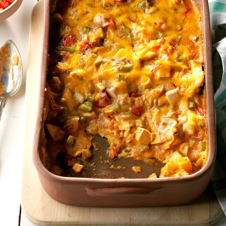 Fiesta Chicken Recipe -Chili powder and picante sauce add just the right dash of zip to this hearty main dish. It's a snap to assemble since it uses convenience foods. —Teresa Peterson, Kasson, Minnesota