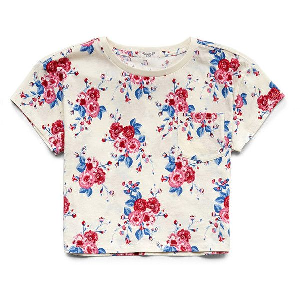 FOREVER 21 GIRLS Boxy Floral Pocket Tee (Kids) ($7.80) ❤ liked on Polyvore featuring tops and crop tops