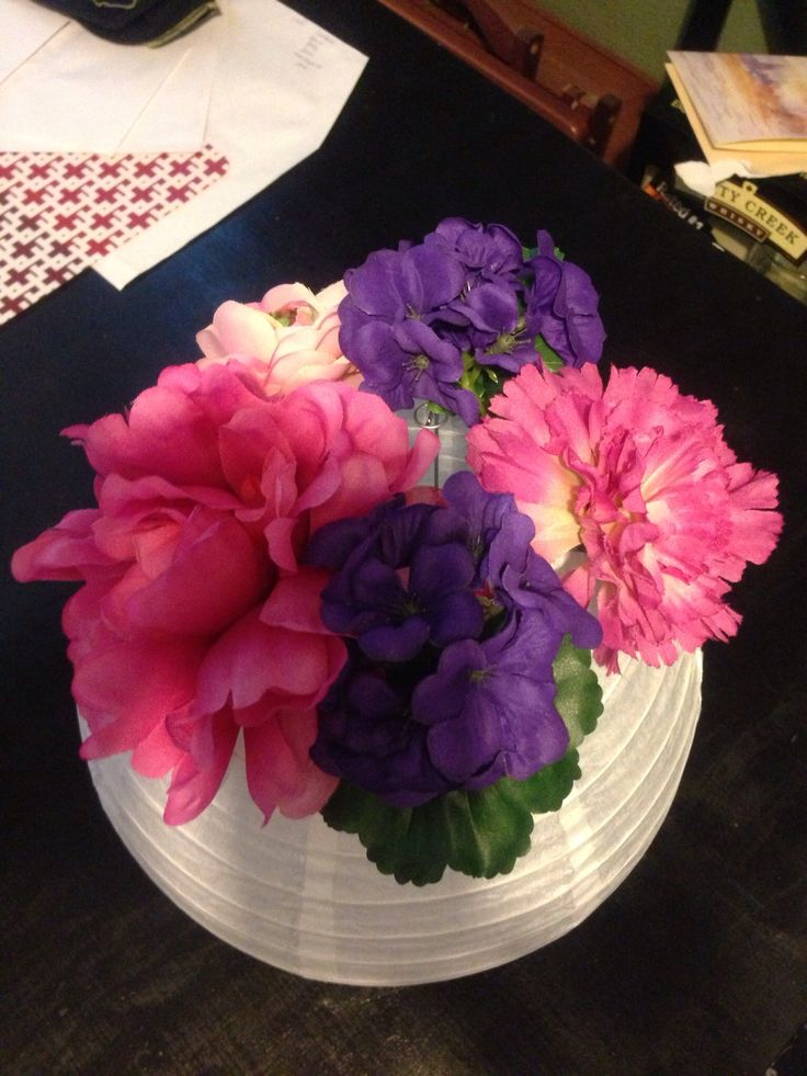 Table Centerpiece Paper Lantern Silk Flowers