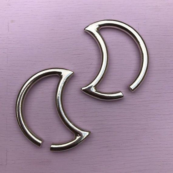 Luna oído pesos - plata maciza - oído perchas para lóbulos estirados