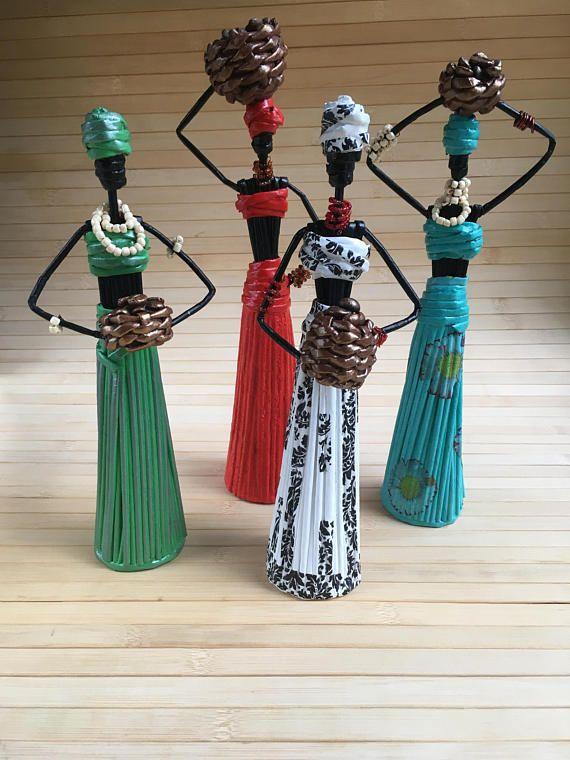 African Art Paper sculpture African figurine Paper statuette