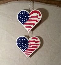 Heart USA Flag. made with Perler Beads