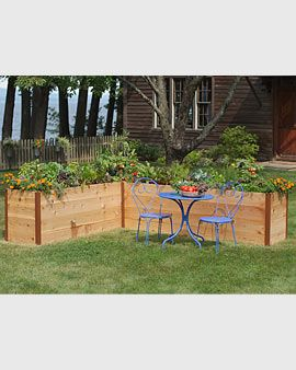 Gardener's Supply - elevated cedar raised bed, great in that corner under the tree where nothing grows