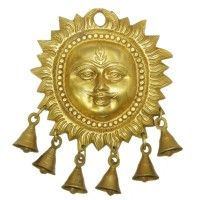 Surya Mukhi Wall Hanging with Bell buy online Vedicvaani.com  Wallhanging brass bell, brass ghanta, home decor ideas india for decoration and Puja purpose. Surya Mukhi Wall Hanging with bell is symbolising day with sun. Surya is considered as the only visible form of God that can be seen every day. God Surya is regarded as an aspect of Shiva and Vishnu by Shaivites and Vaishnavas respectively.