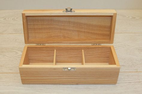 Wooden Tea Box / Keepsake Box / Jewelry Box / 3 Compartments Box / Ash Wood Box