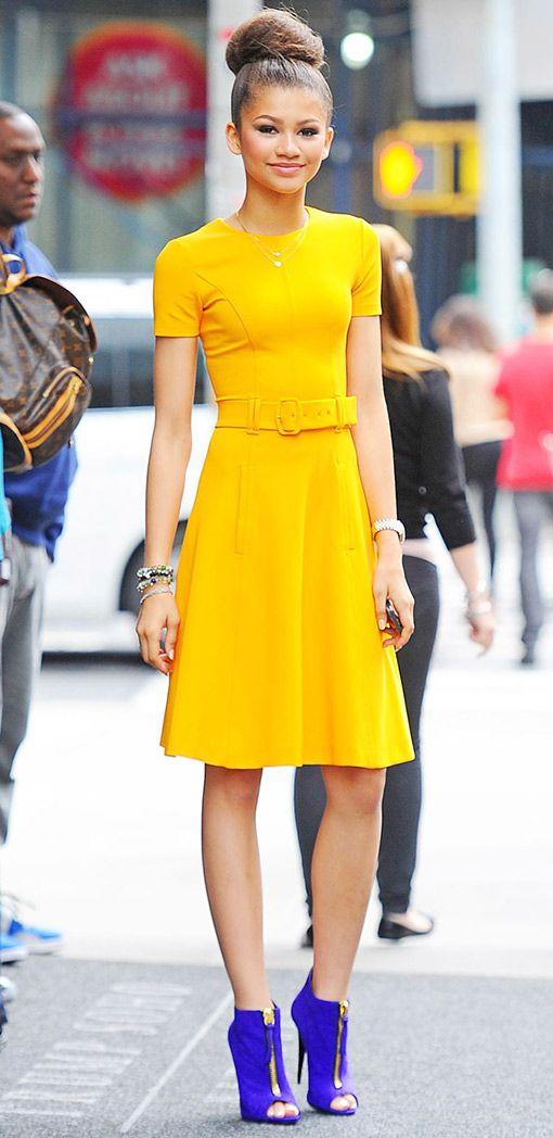 zendaya coleman in tumeric yellow dress & cobalt blue peep-toe booties