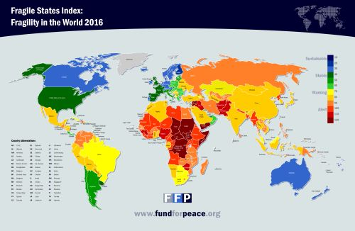 Fragile States Index by country, 2016. FSI in 2014 >>