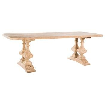Alice French Country Large Banquet Hall Natural Wood Dining Table. #kathykuohome