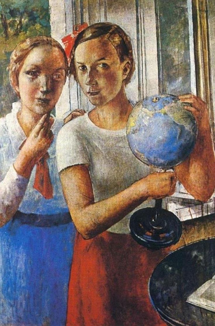 /Портрет дочери (Лена) с глобусом, Кузьма Сергеевич Петров-Водкин (1878-1939)