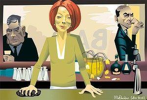 SMH Illustrator Matt Davidson's take on the famous John Brack painting 'The Bar', with PM Julia Gillard as the bartender.