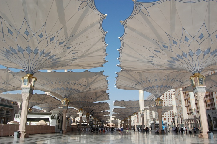 The umbrellas of Al-Masjid al-Nabawi (The mosque of the Prophet)