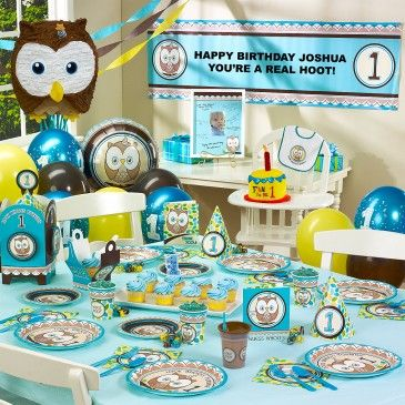 Blue Boy Owl First Birthday Party Look Whoos Turning One