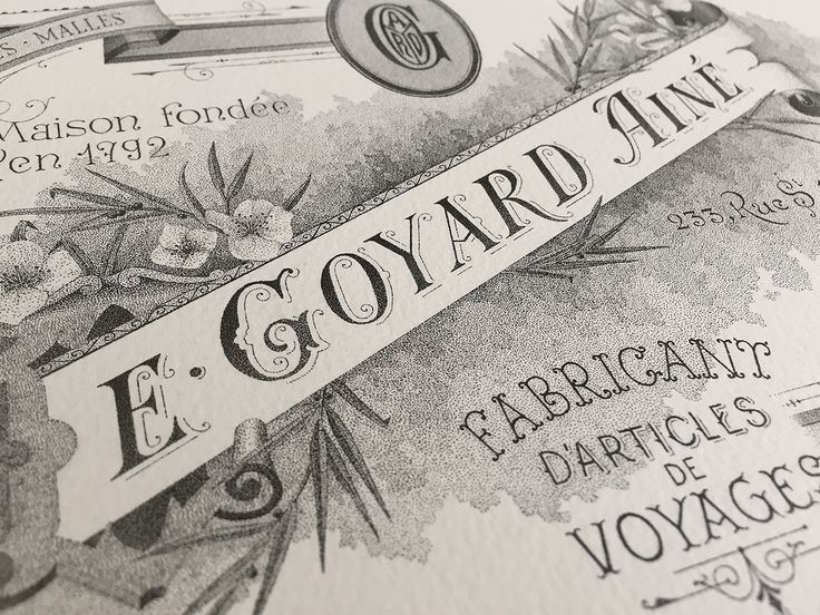 E. Goyard Ainé - Hand lettering & Illustration / 60 hours of inking.
