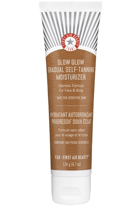 With coconut oil, vitamin E, mango seed butter, shea butter, and aloe vera, this is the best sunless tanner for anyone with sensitive, dry skin. The color it leaves behind is subtle, so you'll need to make this part of your everyday routine to see a real difference. First Aid Beauty Slow Glow Gradual Self-Tanning Moisturizer, $28, sephora.com.