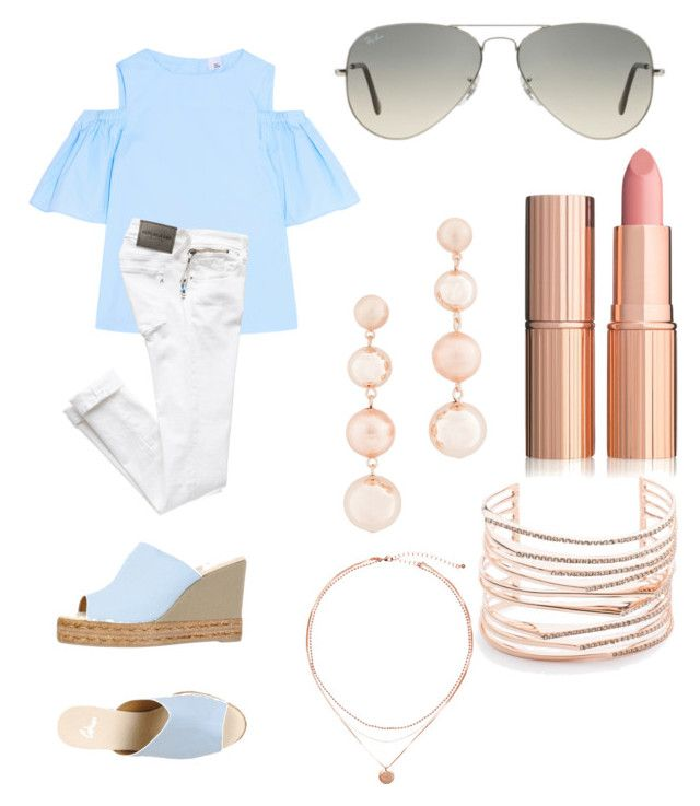 """30A Shopping"" by merylandry on Polyvore featuring Iris & Ink, Castañer, Ray-Ban, Rebecca Minkoff and Alexis Bittar"