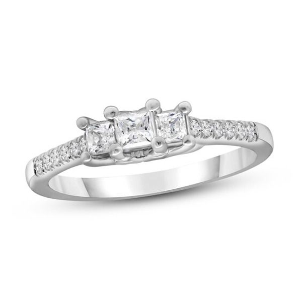 3 Stone Diamond Engagement Ring 1 2 Ct Tw Princess Round 10k White Gold Kay In 2020 Engagement Rings Diamond Engagement Rings Diamond Engagement