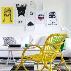 Dare to paint your rattan pieces. Here are some good and affordable examples. (photo from weekdaycarnival.blogspot.com)Decor, Amber Interiors, Black And White, Livingroom, Colors, Interiors Design, Living Room, Black White, Yellow Chairs