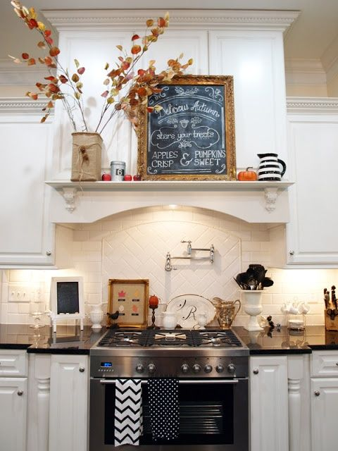 Shelf on back of kitchen cabinets, decor idea  - 37 Cool Fall Kitchen Décor Ideas | DigsDigs