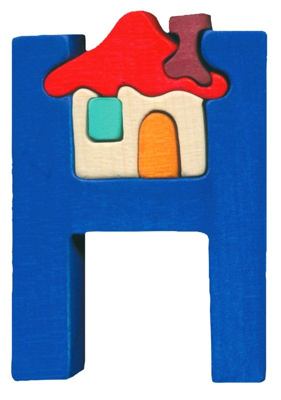 Montessori - Waldorf wooden puzzle letter H, made by hand of maple wood,no harmful colors and no lacquer via Etsy