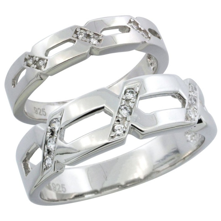Sterling Silver His Mm Hers 4 Wedding Ring Set Cz Stones Rhodium Finish Las Size