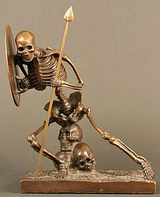 Skeleton in Battle, Antique Japanese Bronze Sculpture For Sale ...