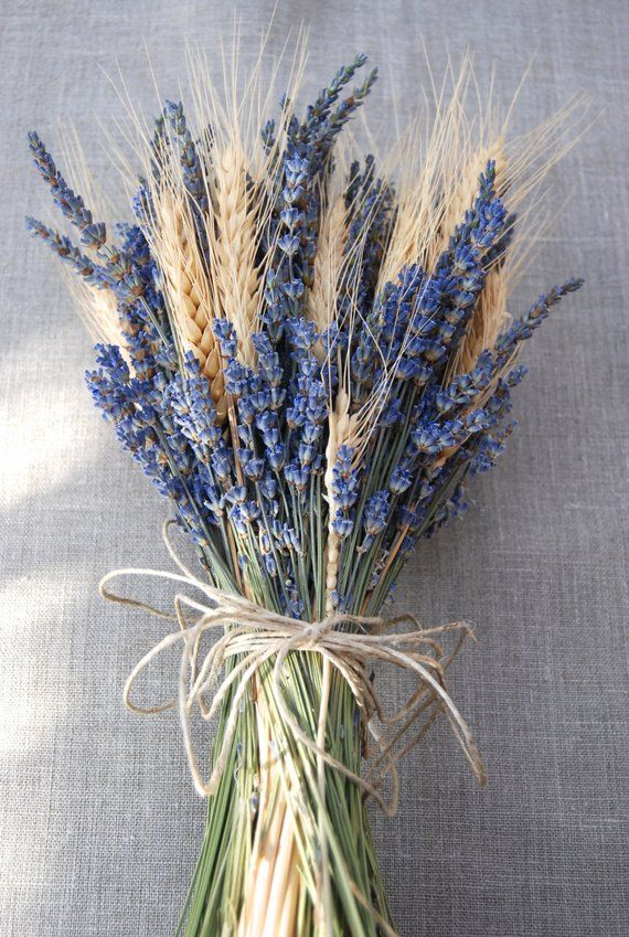 One Simple Lavender and Wheat Brides Bouquet wrapped with Hemp Twine, Ribbon or …