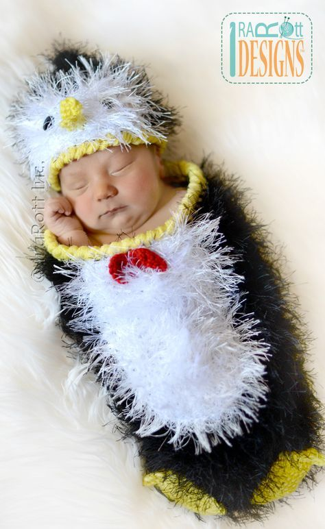 Happy Penguin Baby Hat and Cocoon Set PDF Crochet Pattern