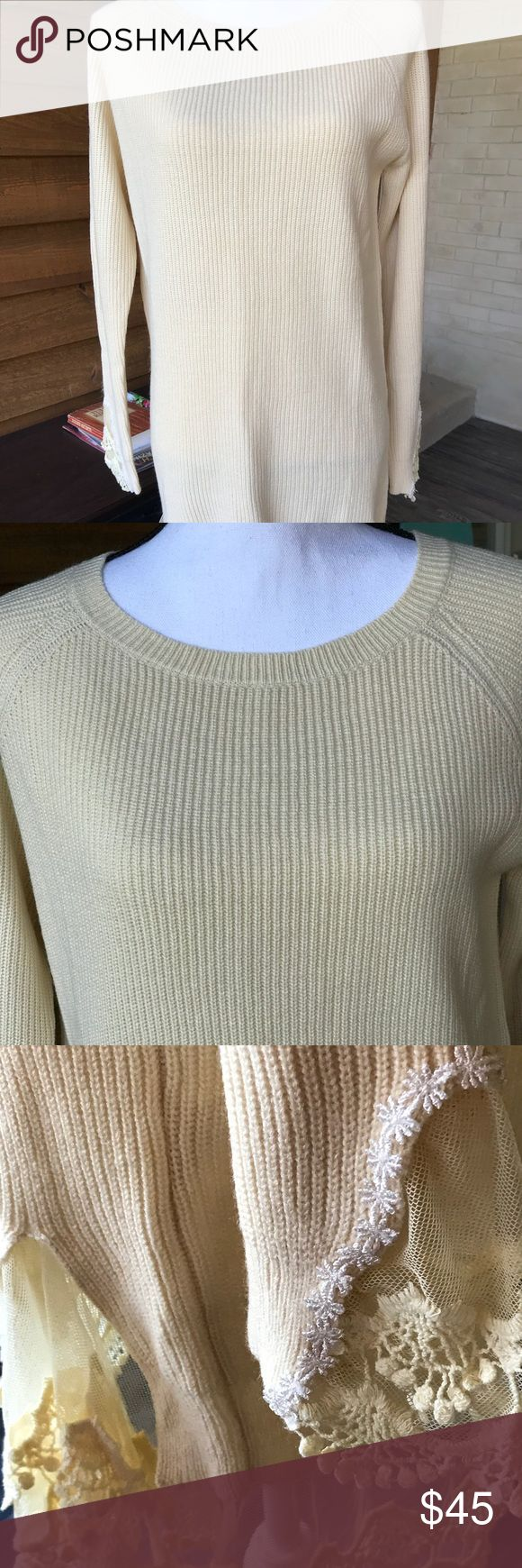 BNWT, XL PALE YELLOW LACE EMBELLISHED SWEATER TOP BRAND NEW WITH TAGS, LADIES SIZE XL PALE YELLOW & LACE EMBELLISHED LONG SLEEVE SWEATER TOP.  This sweater top is amazing!  Very feminine & long enough that it could be worn as a dress.  It would also look great with a pair of leggings!  Dress it up or wear it causally, you are sure to look great & receive many many compliments!  Very soft & comfy!  The lace details are so pretty & soft as well!!!  Many more pics and info available upon…