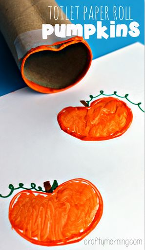 Toilet Paper Roll Pumpkin Stamp Craft for Kids - Fun halloween craft for kids! | CraftyMorning.com