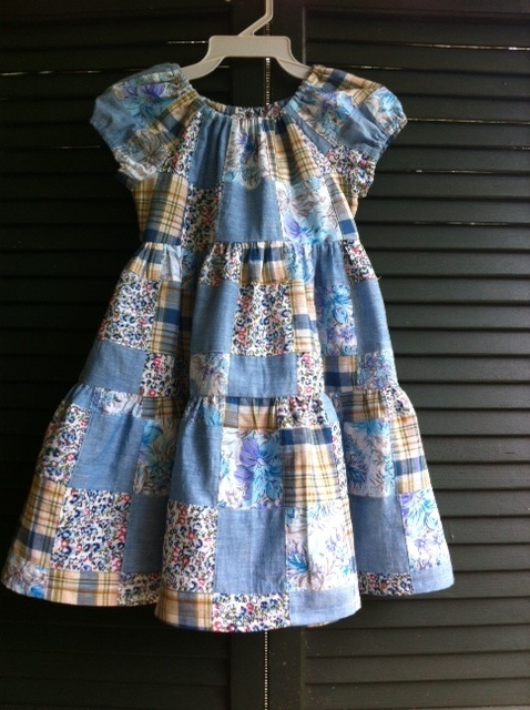 Dress made from patchwork plaids.