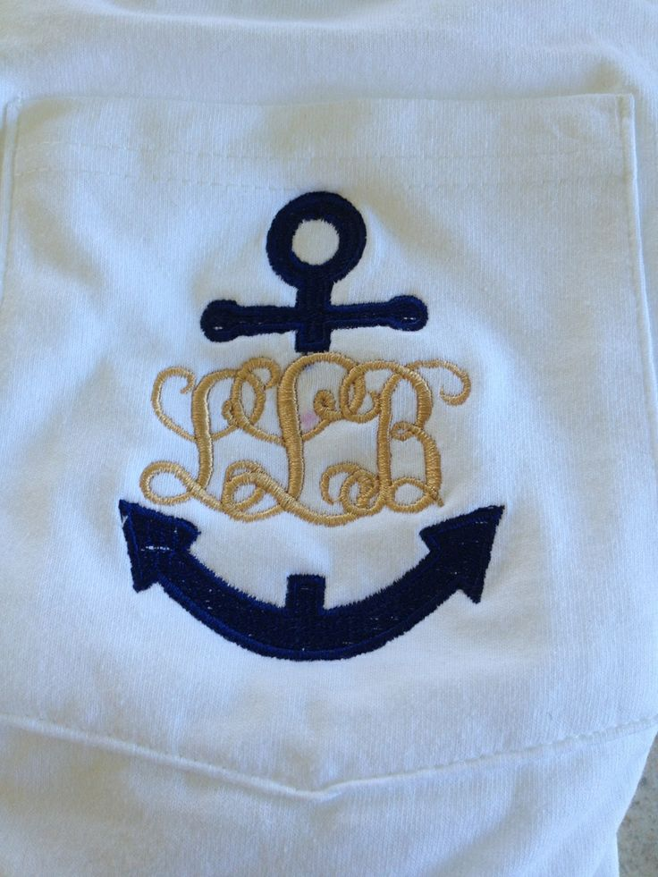 White pocket t with embroidered monogram and anchor