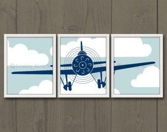 8 x 10 (3) stampe vivaio aeroplano - Art vivaio, Vivaio Decor, arte per bambini - aeroplano dell'annata, aviazione