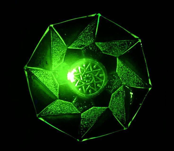 A fantastic Uranium/Vaseline glass fruit bowl or serving bowl. Art deco era pressed glass bowl with amazing geometric design. Uranium glass by StrawberryfVintage on Etsy