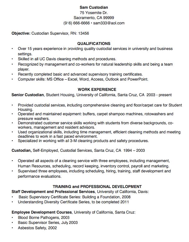 Custodian Resume Sample Resume Cv Biodata Custodian Resume Examples