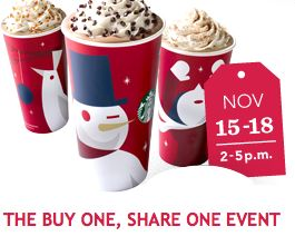 Starbucks -BOGO on Caramel Brulee Latte, Peppermint Mocha, or Gingerbread Latte - November 15 - 18 from 2 pm - 5 pm