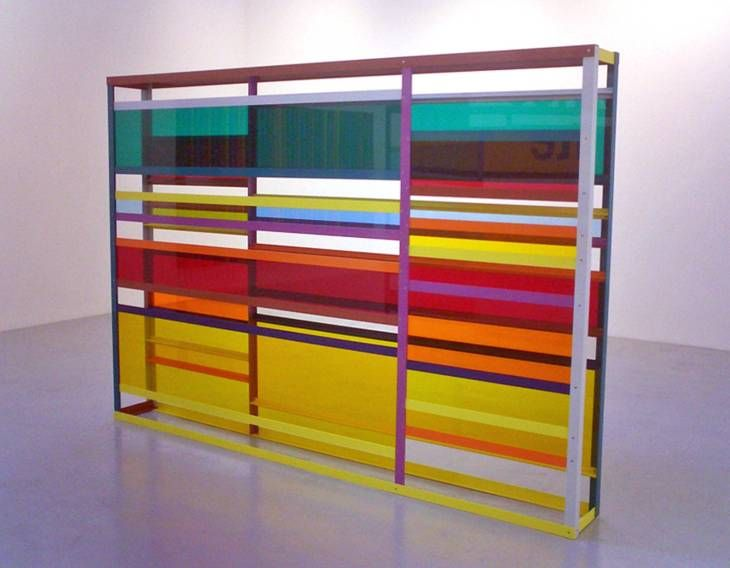 Liam Gillick. Returning to an Abandoned Plant, 2007. Tinted perspex, aluminium, paint, 3000 x 2000 x 300mm. Tate Collection. On display at Tate Liverpool  Theme: DLA Piper Series: This is Sculpture  Room: Conversation Pieces