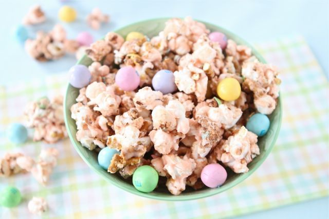 Salted Caramel Easter Popcorn Recipe on www.twopeasandtheirpod.com
